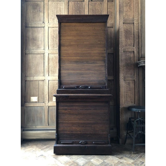 """Stunning oak file cabinet. Original """"Amberg's Cabinet Letter File"""" stenciling at top. Original finish, worn to perfection...."""