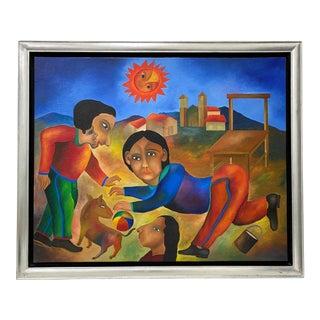 "Roman Andrade Llaguno ""Bajo El Sol"" Original Oil Painting C.1993 For Sale"