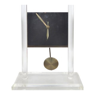 Vintage Lucite & Mirror Battery Operated Clock