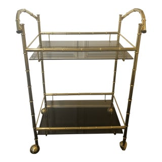 Vintage Hollywood Regency Bar Cart For Sale