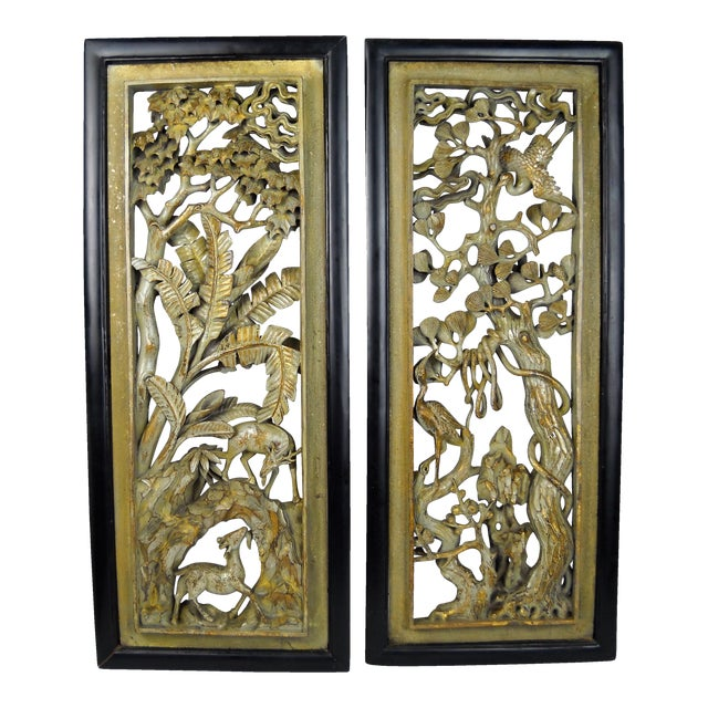 Asian Carved Wood Panels - A Pair - Image 1 of 8