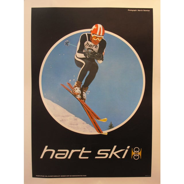 Lodge MId-Century Original American Hart Skis Poster For Sale - Image 3 of 3