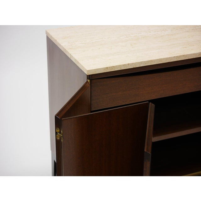1950s Pair of Paul Mccobb Irwin Collection Mahogany and Travertine Credenzas For Sale - Image 5 of 7