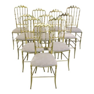 Set of Ten Polished Gilt Brass Chiavari Ballroom Chairs