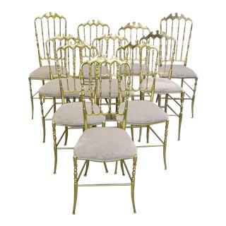 Set of Ten Polished Gilt Brass Chiavari Ballroom Chairs For Sale