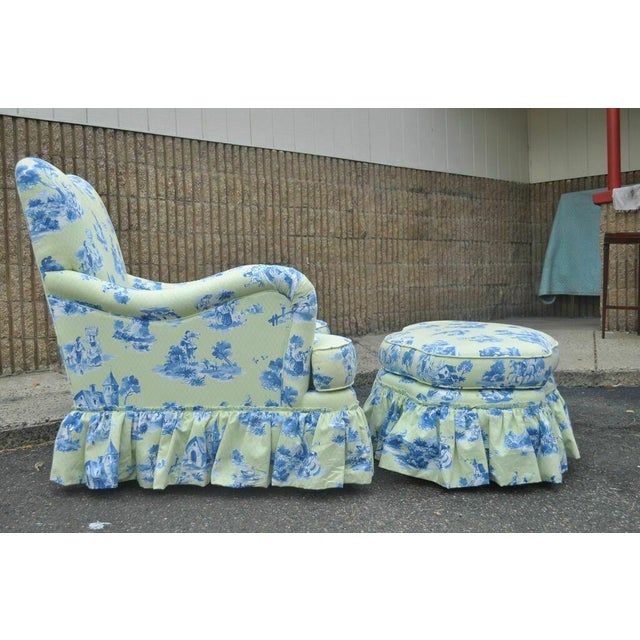 Beautiful 2005 Vera Bradley for Drexel Heritage French Country Style Oversized Rolled Arm Lounge Chair with Matching...