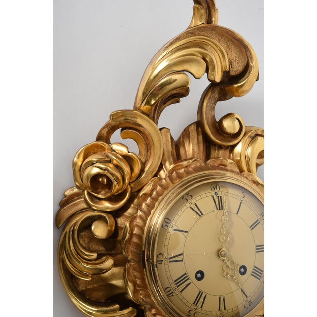 Mid-Century Modern Vintage Swedish Gilt Wood Framed Wall Cartel Clock For Sale - Image 3 of 8