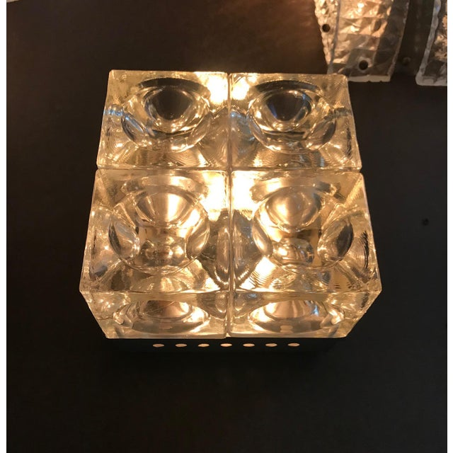 Italian Murano Glass Cube Sconces / Flush Mounts by Poliarte - a Pair For Sale - Image 9 of 11