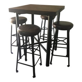 Industrial Bar Height Table & Stools For Sale