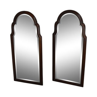 Hickory Chair Co. Pair Solid Mahogany Frame Arch Top Beveled Mirrors For Sale