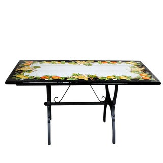 Italian Ceramic Stone Table + Iron Base Dining Table With Fruits on a Black Background. For Sale