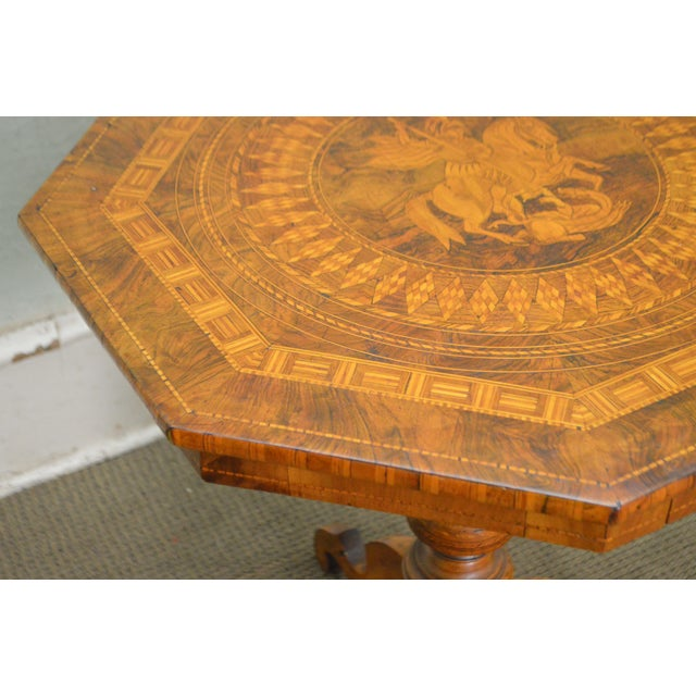 Antique Italian Walnut Marquetry Inlaid Octagon Top Pedestal Side Table For Sale - Image 5 of 10