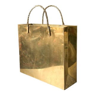 Mid Century Brass Magazine Holder - Pocket Book, Shopping Tote Form For Sale