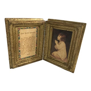 Vintage Italian Diptych With Lord's Prayer For Sale
