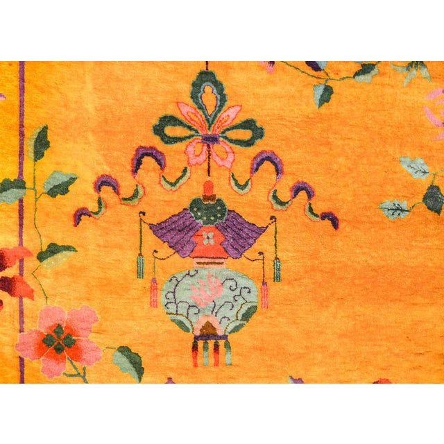 Vivid Early 20th Century Chinese Art Deco Rug For Sale - Image 9 of 12