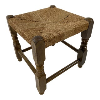 Antique Wood & Woven Rush Footstool For Sale