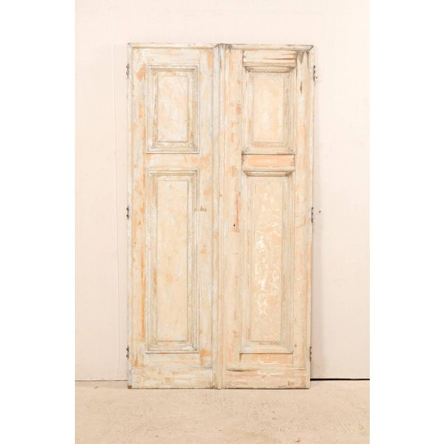 French Pair of 19th Century Painted Wood French Doors With Nice Recessed Panels For Sale - Image 3 of 10