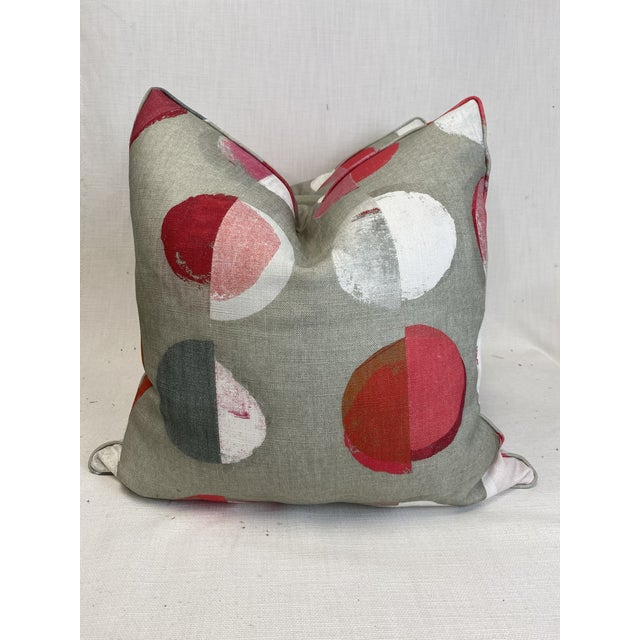 """Jane Churchill """"Olinda"""" in Red 22"""" Pillows-A Pair For Sale In Greensboro - Image 6 of 6"""