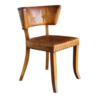 Nybro Mobler Sweden Studded Patinated Leather Occasional Chair Circa 1945 For Sale