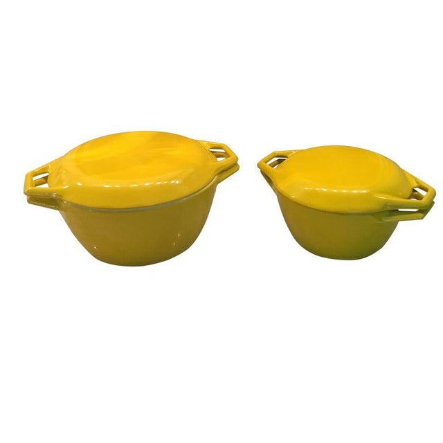 Yellow Danish Copco Enamelware by Michael Lax - A Pair For Sale