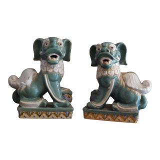 Antique Ceramic Foo Dog Figurines - a Pair For Sale