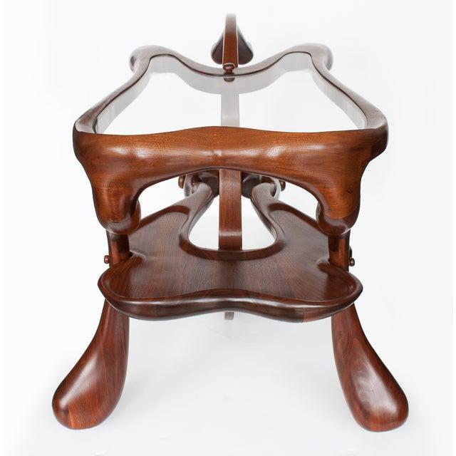 Vintage Studio Sculptural Carved Walnut Bar Cart - Image 3 of 10