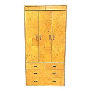 1970's MCM Henredon Scene Two Olive Burl Wood Highboy Dresser For Sale