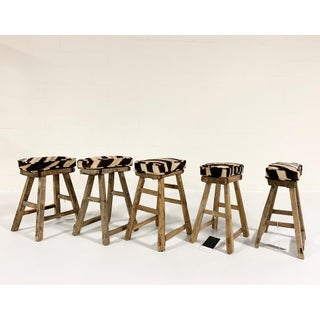 Chinese Elmwood Stool With Zebra Cushion Preview