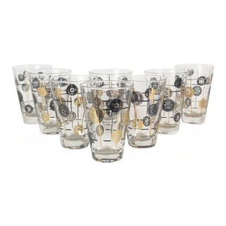 Vintage Libbey Mid-Century Black Gold Coin Glasses - Set of 8