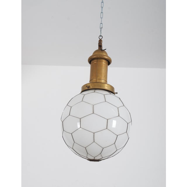 Rare Street or Factory Pendant Lamp Opaline Glass From the 1900s For Sale - Image 6 of 10