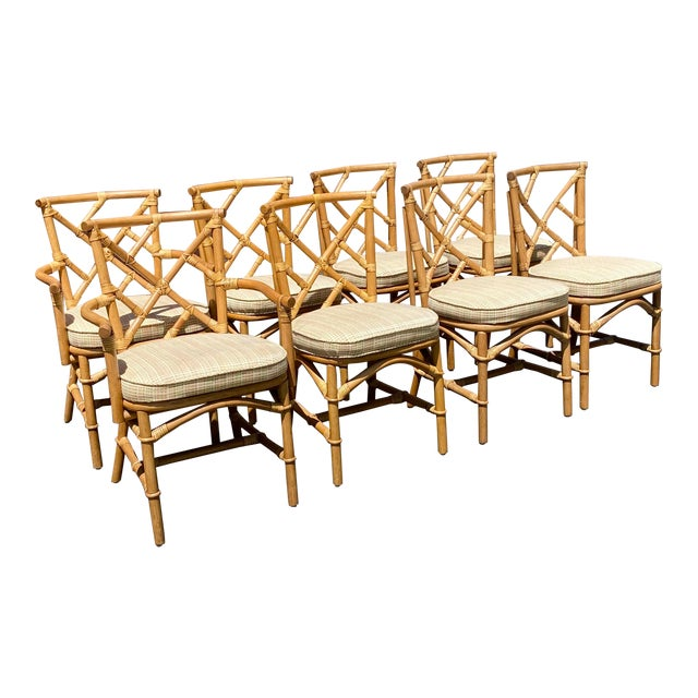 Vintage Coastal Ficks Reed Chinese Chippendale Bamboo Dining Chairs - Set of 8 For Sale