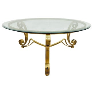 Hollywood Regency Gold Iron & Glass Top Table For Sale