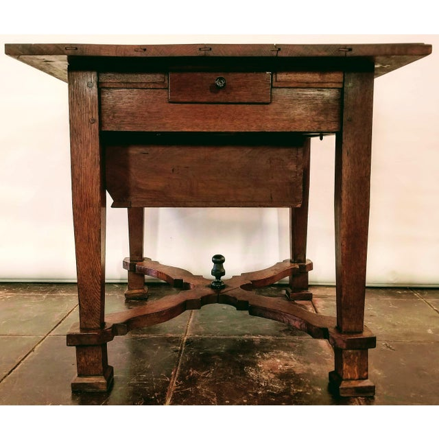 Flemish Renaissance oak kitchen work table from the area of Flanders, Northern Belgium. This domestic table from the Low...