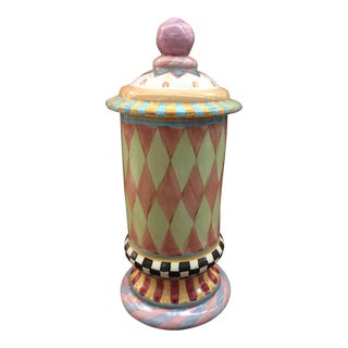MacKenzie Childs Painted Canister With Matching Lid Cover For Sale