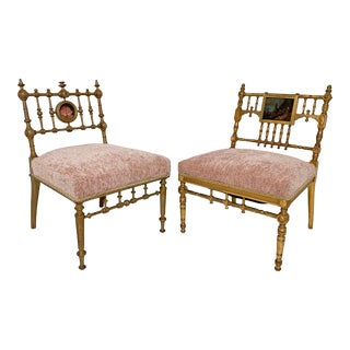 C. Late 1800s American Aesthetic Movement Giltwood Slipper Chairs - a Pair For Sale