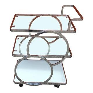1990s Art Deco Tea Chrome and Glass Bar Cart For Sale