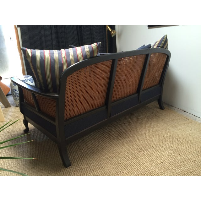 Chinoiserie Cane Back Settee With Pillows - Image 6 of 11