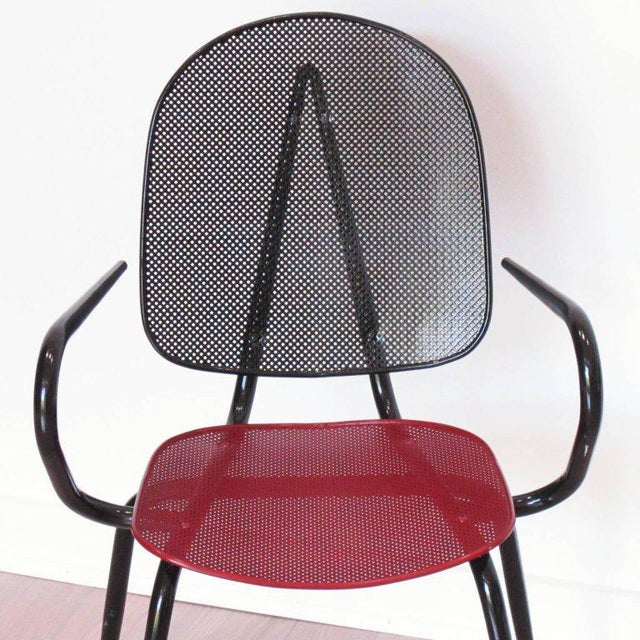 Red Manner of Mathieu Mategot Black and Red Perforated Metal Armchairs For Sale - Image 8 of 11
