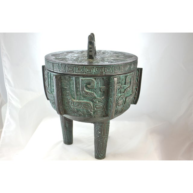 """James Mont Midcentury faux-bronze 13"""" tall party-size ice bucket is highlighted with aqua - green verdigris over black..."""