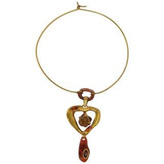 Christian Lacroix Paris Signed Torque Necklace Modernist Resin Heart Pendant For Sale