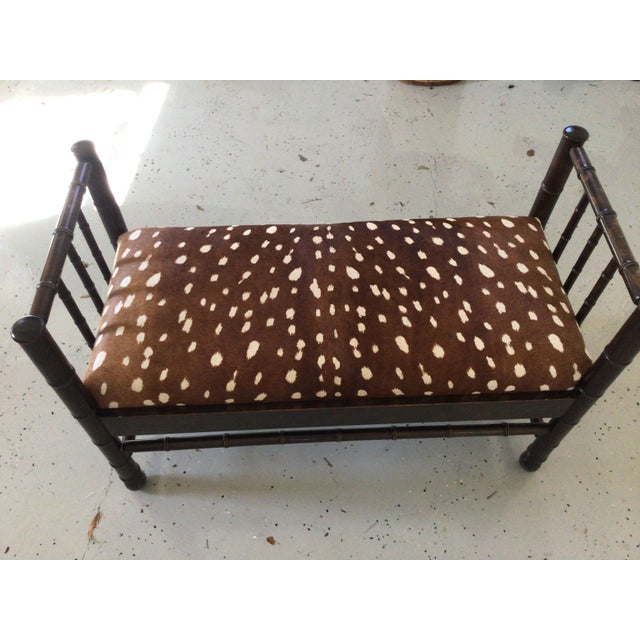 Antique Hair on Hide in Chocolate Brown & White Bench For Sale - Image 4 of 6