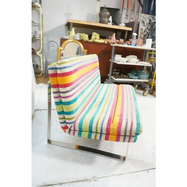 Chrome Set of 2 Kho Llang Lee for Artifort Awning Striped Chenille Sofas For Sale - Image 7 of 9