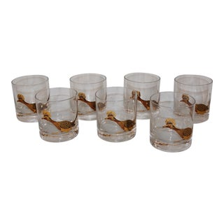1980s Quail Lowball Glasses - Set of 7 For Sale