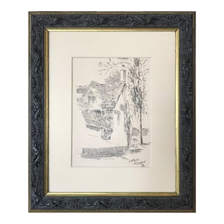 """Antique English Pen & Ink Drawing """"Cottage North Oxford"""" 1921 For Sale"""