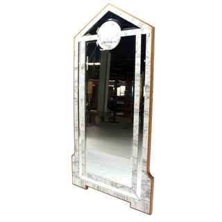 Mid-Century Modern Marble & Wood Frame Floor Mirror Cheval Easel For Sale