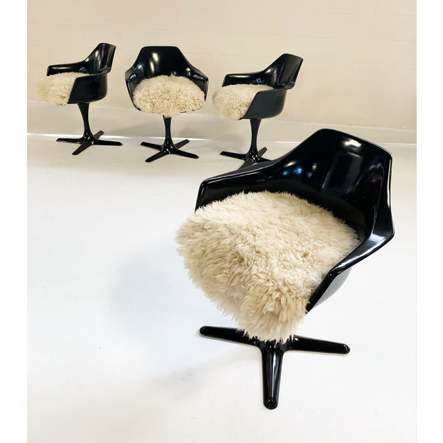 Animal Skin Burke Inc Tulip Style Armchairs With Custom California Sheepskin Cushions - Set of 4 For Sale - Image 7 of 10