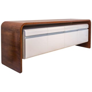 Michel Boyer Walnut and Formica Credenza For Sale