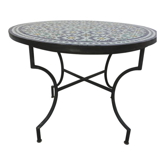 Moroccan Outdoor Mosaic Tile Table From Fez in Traditional Moorish Design For Sale