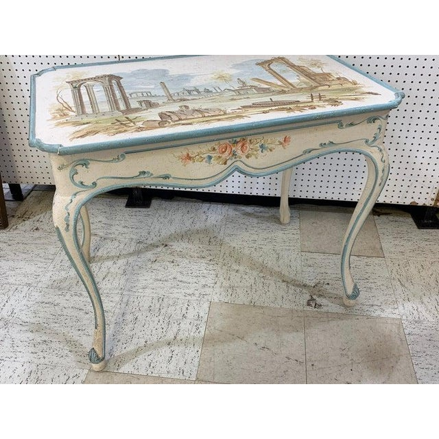 White Venetian Painted Table or Desk For Sale - Image 8 of 11
