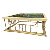 Image of Traditional Brass and Glass Cocktail Table For Sale